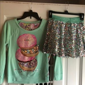 Mint green Justice donut sweater and skirt set